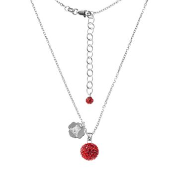 Arizona Wildcats Crystal Sterling Silver Team Logo & Ball Pendant Necklace