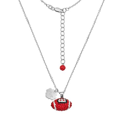 Arkansas Razorbacks Sterling Silver Team Logo & Crystal Football Pendant Necklace