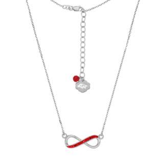 Arkansas Razorbacks Sterling Silver Crystal Infinity Necklace