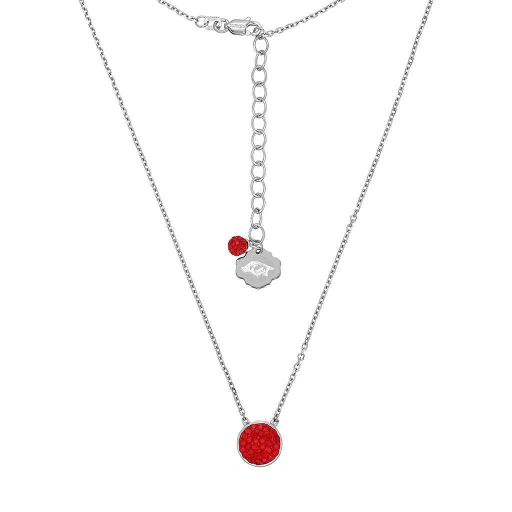 Arkansas Razorbacks Sterling Silver Crystal Disc Necklace