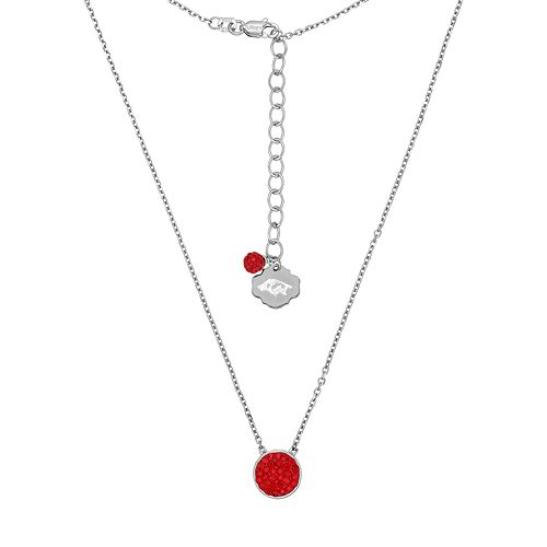 Arkansas Razorbacks Sterling Silver Crystal Disc Necklace