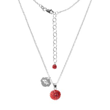 Arkansas Razorbacks Crystal Sterling Silver Team Logo & Ball Pendant Necklace