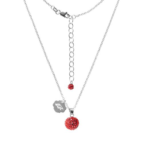Arkansas Razorbacks Crystal Sterling Silver Team Logo & Ball Pendant Necklace