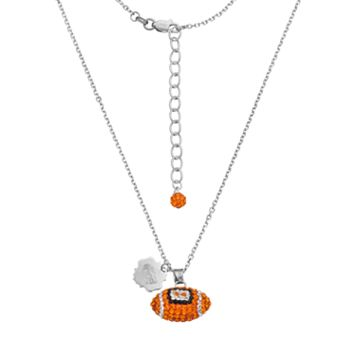 Florida Gators Sterling Silver Team Logo & Crystal Football Pendant Necklace