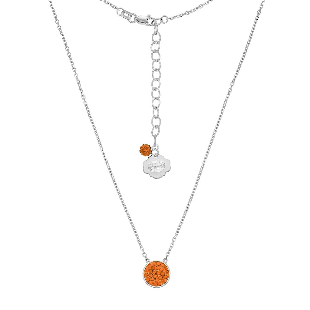 Florida Gators Sterling Silver Crystal Disc Necklace