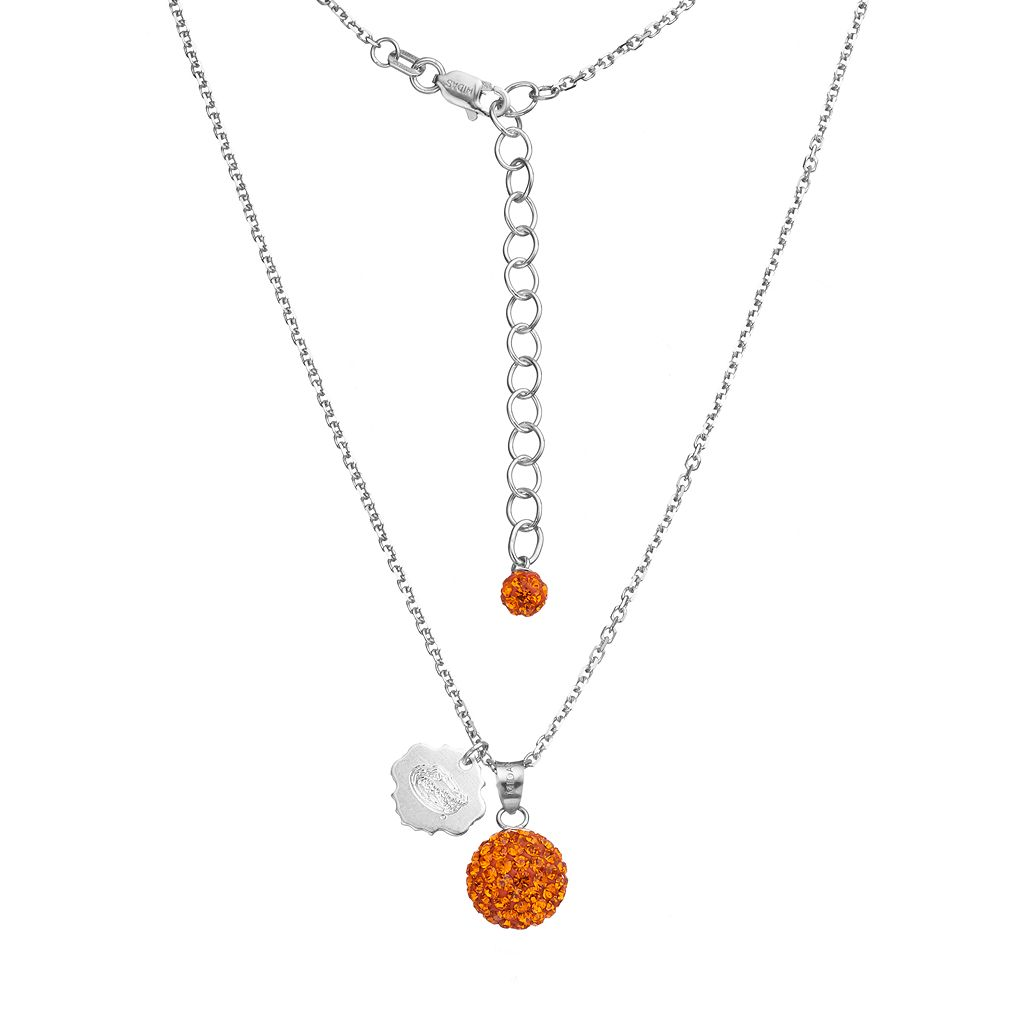 Florida Gators Crystal Sterling Silver Team Logo & Ball Pendant Necklace
