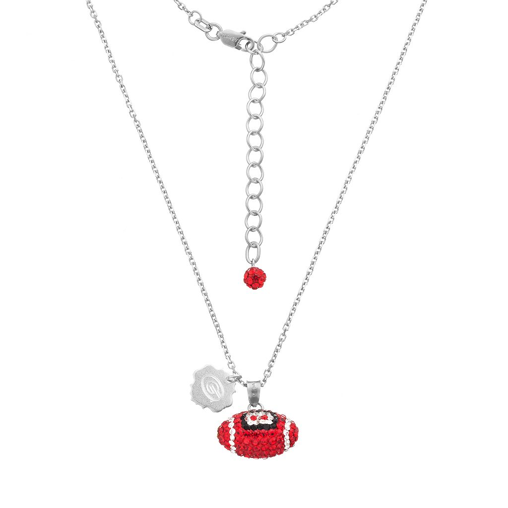 Georgia Bulldogs Sterling Silver Team Logo & Crystal Football Pendant Necklace