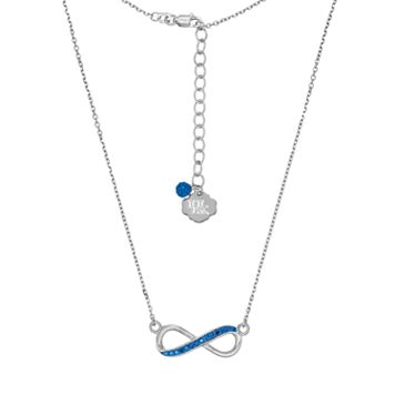 Kentucky Wildcats Sterling Silver Crystal Infinity Necklace