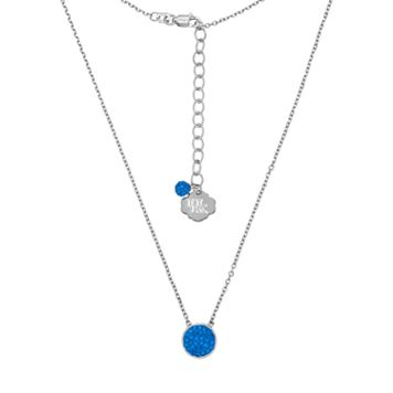 Kentucky Wildcats Sterling Silver Crystal Disc Necklace