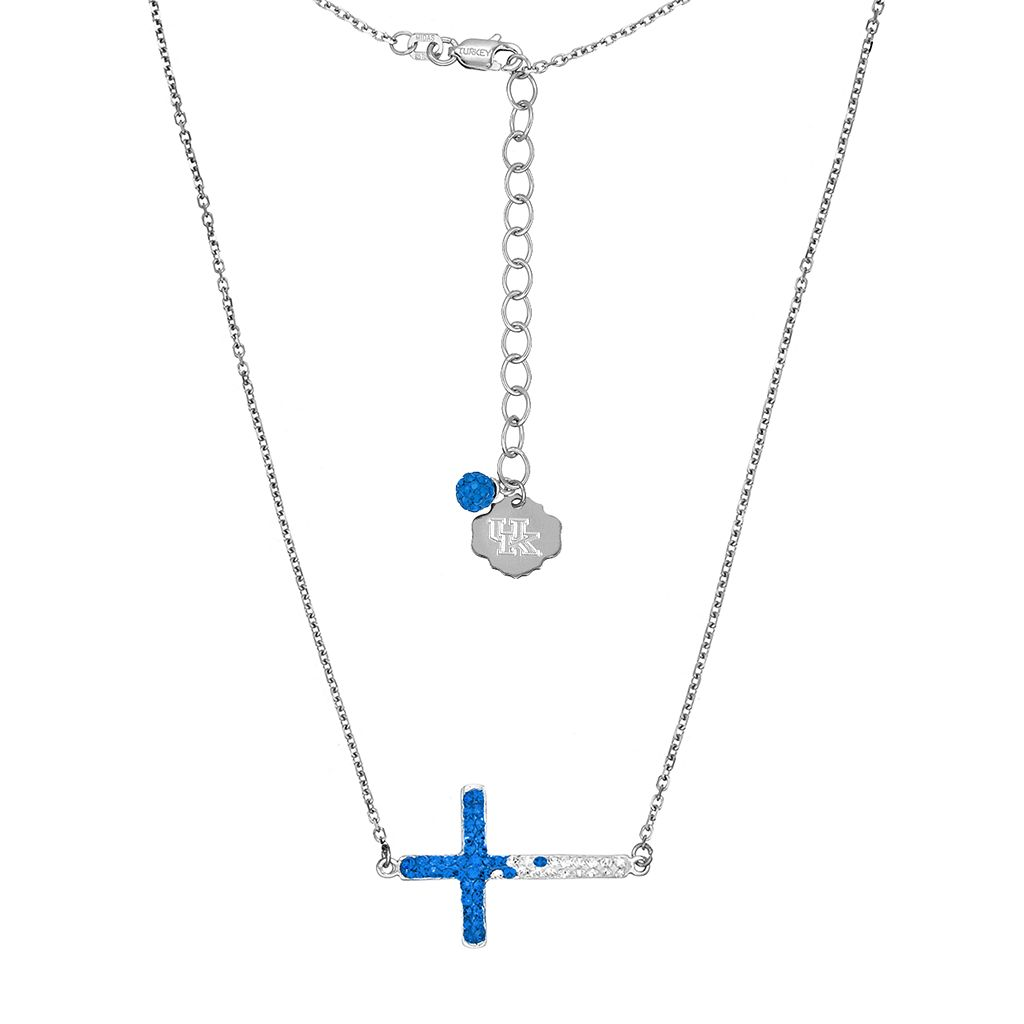 Kentucky Wildcats Sterling Silver Crystal Sideways Cross Necklace