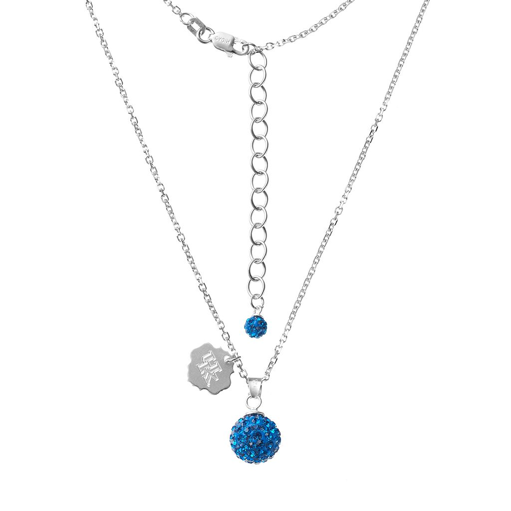 Kentucky Wildcats Crystal Sterling Silver Team Logo & Ball Pendant Necklace