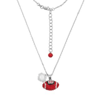 Louisville Cardinals Sterling Silver Team Logo & Crystal Football Pendant Necklace