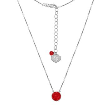 Louisville Cardinals Sterling Silver Crystal Disc Necklace