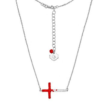 Louisville Cardinals Sterling Silver Crystal Sideways Cross Necklace