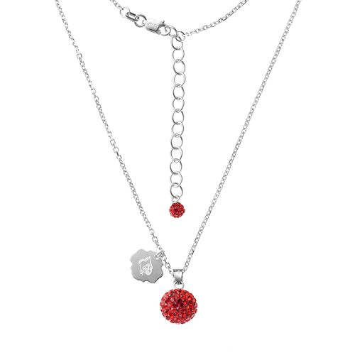 Louisville Cardinals Crystal Sterling Silver Team Logo & Ball Pendant Necklace