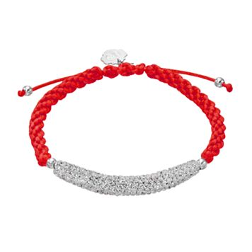 Louisville Cardinals Crystal Sterling Silver Bar Link & Team Logo Charm Slipknot Bracelet