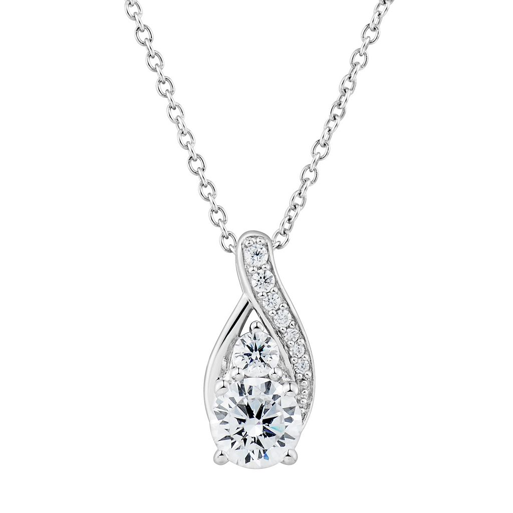 DiamonLuxe1 3/4 Carat T.W. Simulated Diamond Teardrop Pendant Necklace