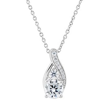 DiamonLuxe 1 3/4 Carat T.W. Simulated Diamond Teardrop Pendant Necklace