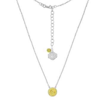 Michigan Wolverines Sterling Silver Crystal Disc Necklace