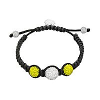 Michigan Wolverines Crystal Ball & Sterling Silver Team Logo Slipknot Bracelet