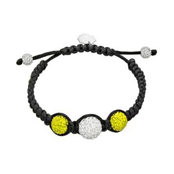 Michigan Wolverines Crystal Ball & Sterling Silver Team Logo Slipknot Bracelet