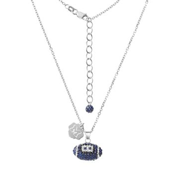 Michigan Wolverines Sterling Silver Team Logo & Crystal Football Pendant Necklace