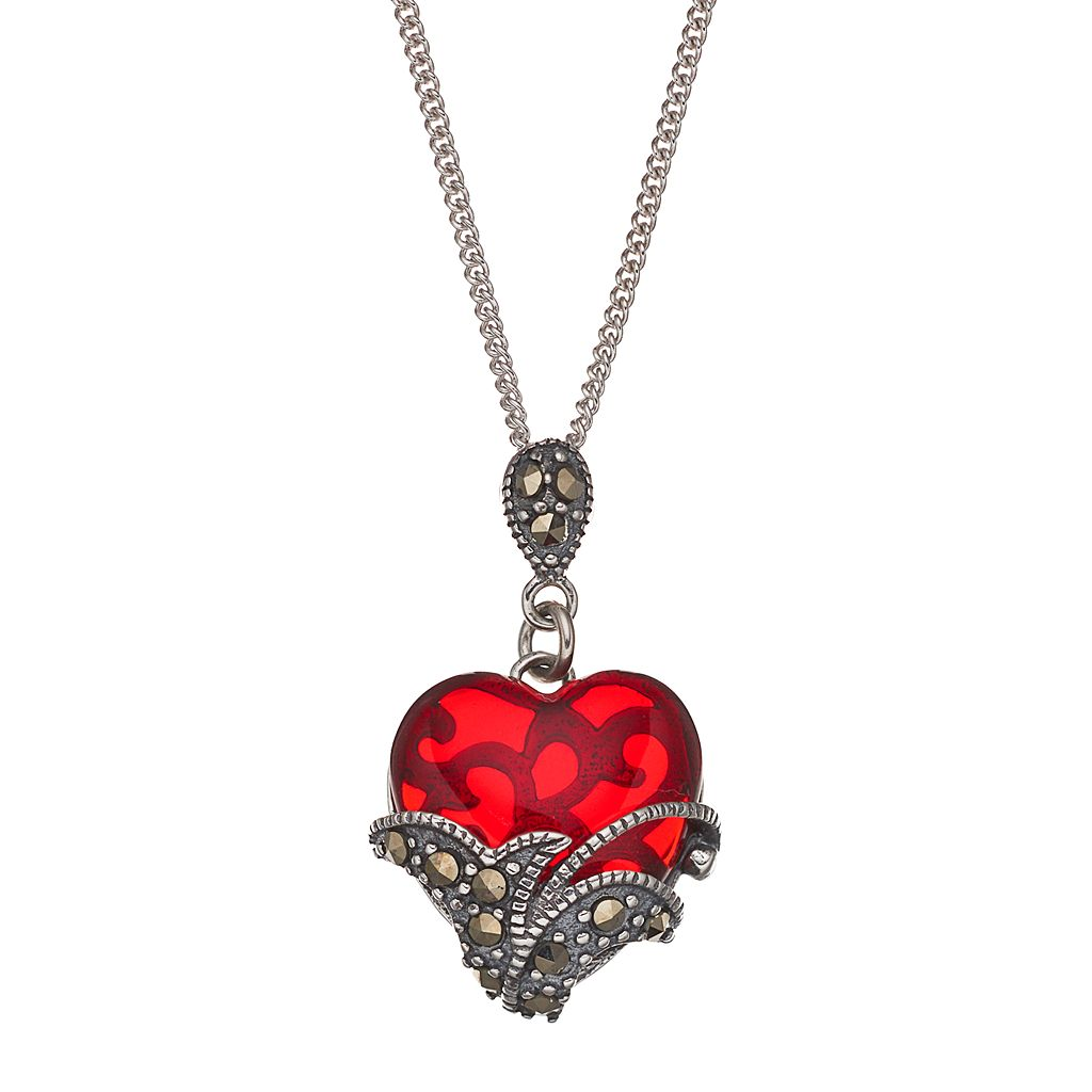 Tori HillSterling Silver Red Glass & Marcasite Heart Pendant Necklace