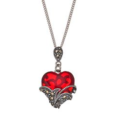 Tori Hill Sterling Silver Red Glass & Marcasite Heart Pendant Necklace