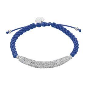 Michigan Wolverines Crystal Sterling Silver Bar Link & Team Logo Charm Slipknot Bracelet