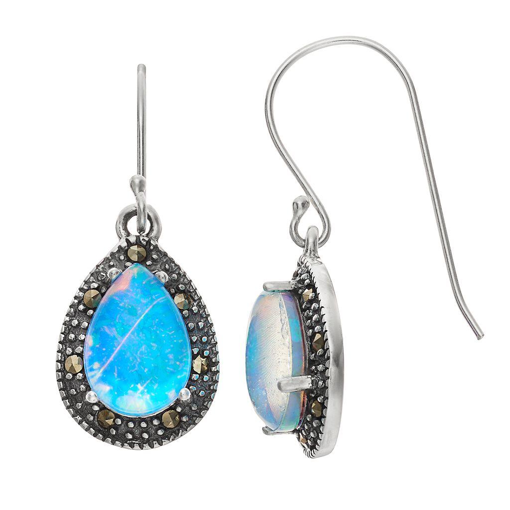 Tori HillSterling Silver Simulated Blue Opal Doublet & Marcasite Teardrop Earrings