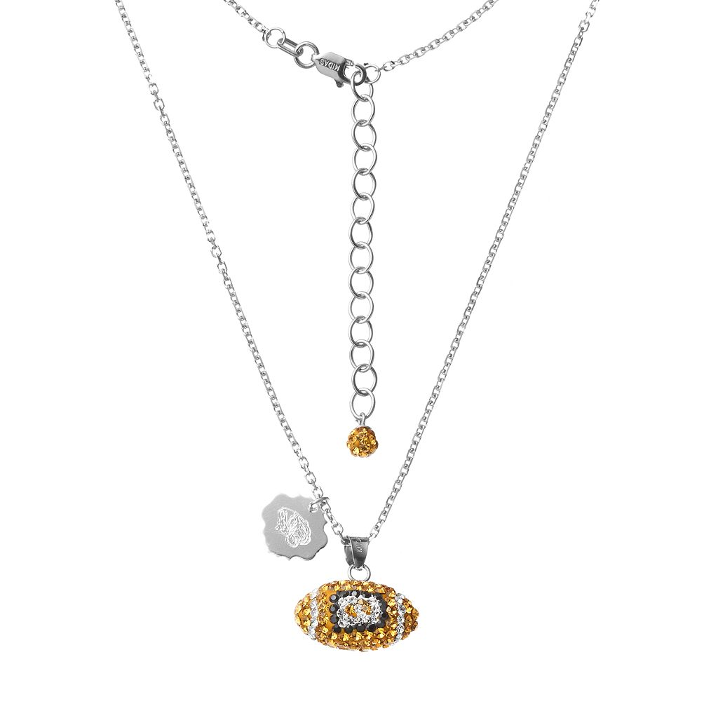 Missouri Tigers Sterling Silver Team Logo & Crystal Football Pendant Necklace