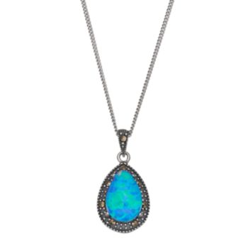Tori HillSterling Silver Simulated Blue Opal Doublet & Marcasite Teardrop Pendant Necklace