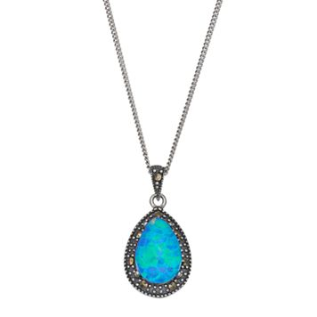 Tori Hill Sterling Silver Simulated Blue Opal Doublet & Marcasite Teardrop Pendant Necklace