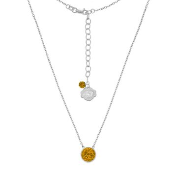 Missouri Tigers Sterling Silver Crystal Disc Necklace