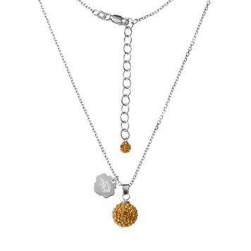 Missouri Tigers Crystal Sterling Silver Team Logo & Ball Pendant Necklace