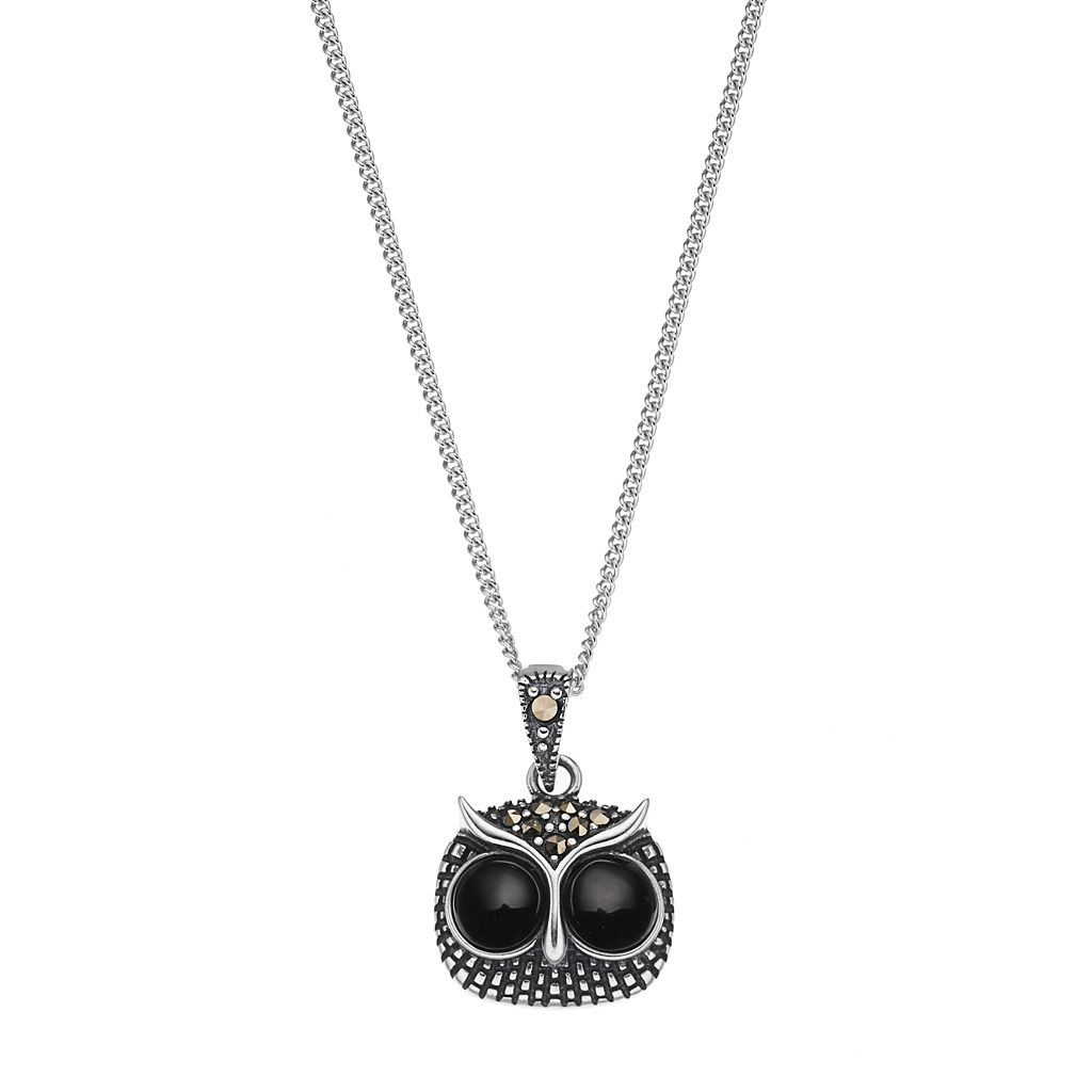 Tori HillSterling Silver Onyx & Marcasite Owl Pendant Necklace