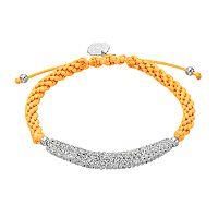 Missouri Tigers Crystal Sterling Silver Bar Link & Team Logo Charm Slipknot Bracelet