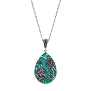 Tori Hill Simulated Turquoise & Marcasite Flower Teardrop Pendant Necklace