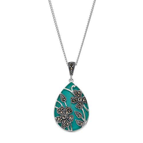 Tori HillSimulated Turquoise & Marcasite Flower Teardrop Pendant Necklace