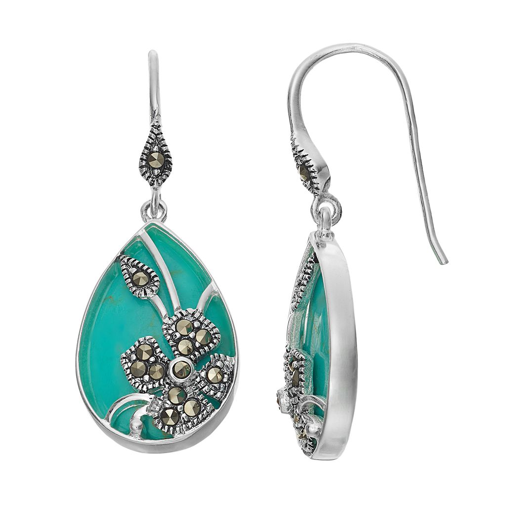 Tori Hill Simulated Turquoise & Marcasite Flower Teardrop Earrings