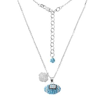 North Carolina Tar Heels Sterling Silver Team Logo & Crystal Football Pendant Necklace