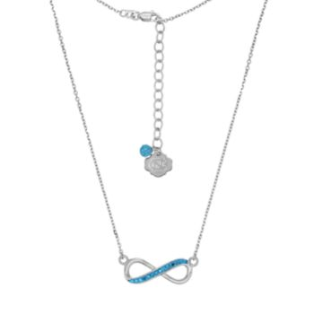 North Carolina Tar Heels Sterling Silver Crystal Infinity Necklace