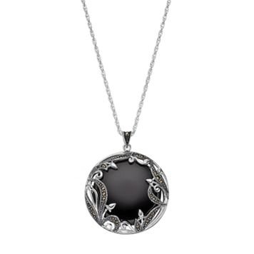 Tori Hill Onyx & Marcasite Disc Pendant Necklace