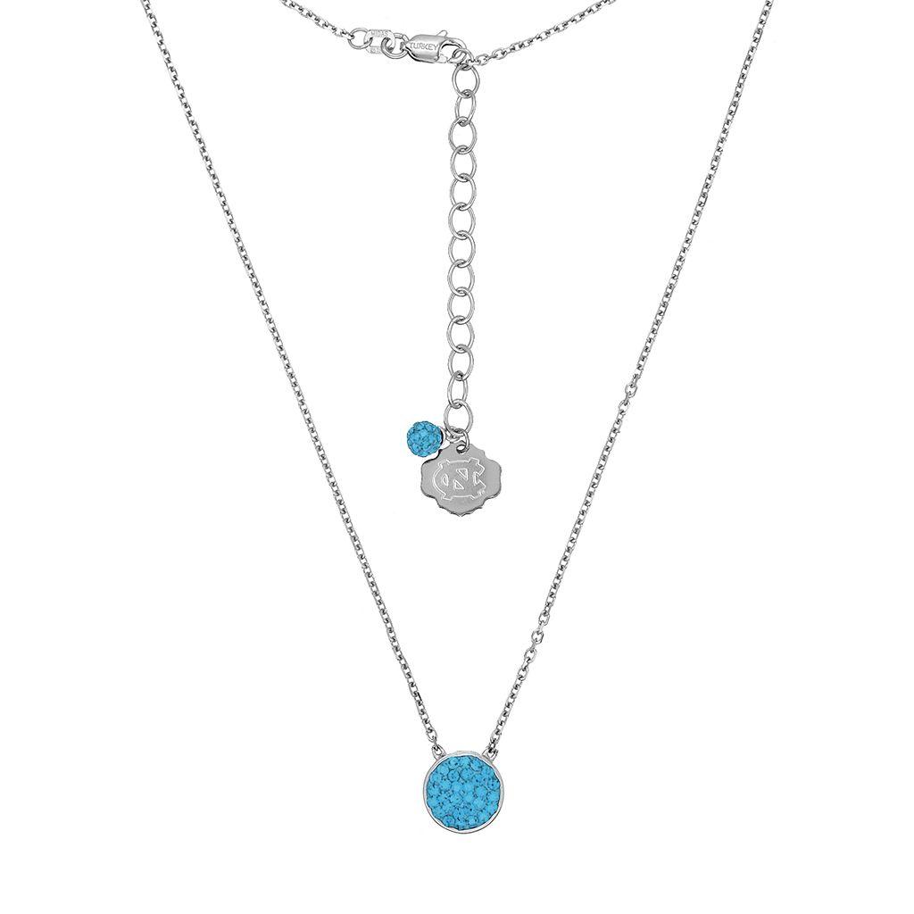 North Carolina Tar Heels Sterling Silver Crystal Disc Necklace