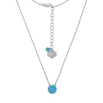 North Carolina Tar Heels Sterling Silver Crystal Disc Necklace