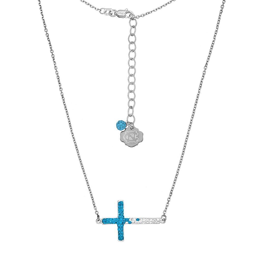 North Carolina Tar Heels Sterling Silver Crystal Sideways Cross Necklace