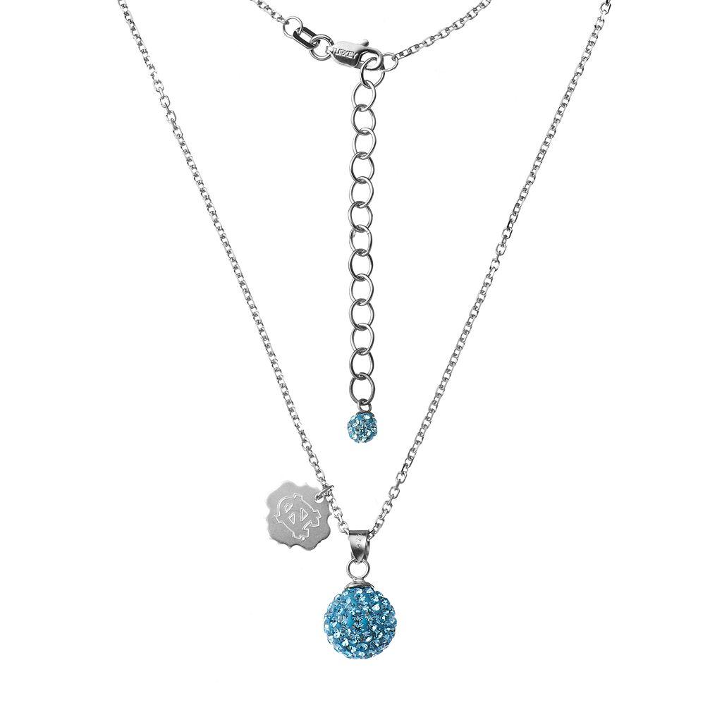 North Carolina Tar Heels Crystal Sterling Silver Team Logo & Ball Pendant Necklace