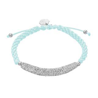 North Carolina Tar Heels Crystal Sterling Silver Bar Link & Team Logo Charm Slipknot Bracelet