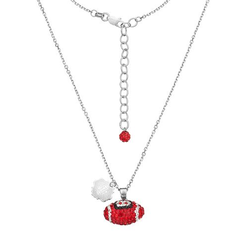 Oklahoma Sooners Sterling Silver Team Logo & Crystal Football Pendant Necklace