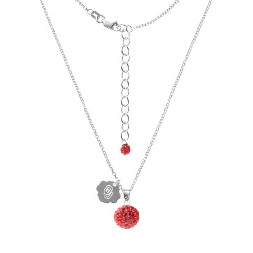Oklahoma Sooners Crystal Sterling Silver Team Logo & Ball Pendant Necklace
